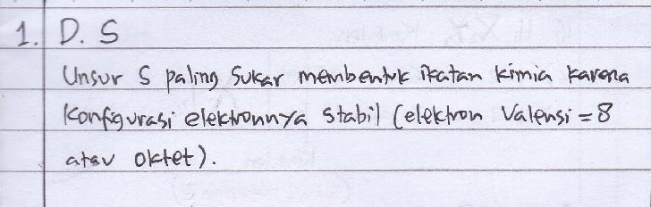 Unsur S paling sukar membentuk ikatan kimia karena konfigurasi elektronnya stabil (elektron valensi = 8 atau oktet).