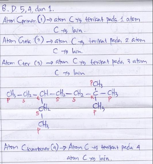 Perhatikan senyawa berikut. Jumlah atom karbon primer, sekunder, dan tersier dalam senyawa tersebut berturut-turut sebanyak… A. 4, 3, dan 2 B. 5, 3, dan 1 C. 5, 3, dan 2 D. 5, 4, dan 1 E. 5, 4, dan 2