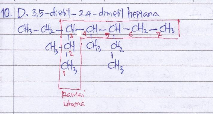 Perhatikan senyawa berikut. Nama yang benar untuk senyawa tersebut adalah… A. 5-etil-4-metil-3-isopropilheptana B. 5-etil-3-isopropil-4-metilheptana C. 3-etil-5-isopropil-4-metilheptana D. 3,5-dietil 2,4 dimetilheptana E. isooktana