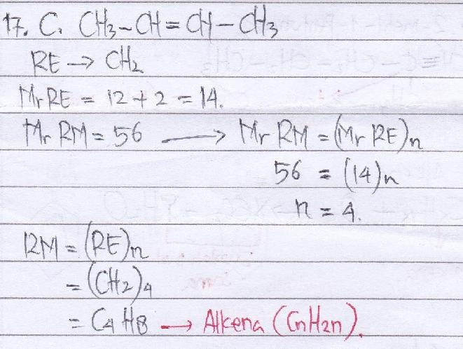 Suatu hidrokarbon mempunyai rumus empiris CH2 dan massa molekul relatif 56. Rumus struktur yang mungkin untuk senyawa tersebut adalah…A. CH2-CH2-CH2-CH2 B. CH2-CH=CH-CH3 C. CH3-CH=CH-CH3 D. CH3-C=C-CH3 E. CH2=CH-CH3