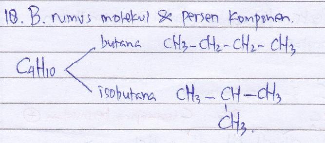Hal yang sama antara butana dan isobutana adalah… A. rumus molekul dan rumus struktur B. rumus molekul dan persen komponen C. rumus molekul dan sifat fisis D. titik didih dan kelarutan E. kelarutan dan persen komponen