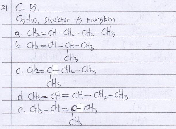 Jumlah isomer alkena dengan rumus molekul C5H10 adalah… A. 3 B. 4 C. 5 D. 6 E. 7