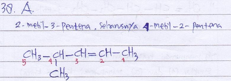 Penamaan 2-metil-3-pentena tidak memenuhi aturan IUPAC. SEBAB. menurut tata nama IUPAC untuk alkena, penomoran harus dimulai dari salah satu ujung sehingga ikatan rangkap mendapat nomor terkecil.