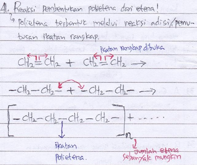 Tuliskan reaksi-reaksi pembentukan polietena dari etena.