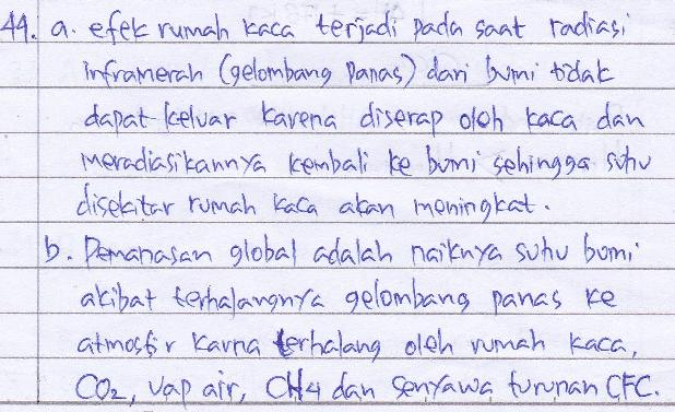 Jelaskan dengan singkat yang dimaksud dengan: a. efek rumah kaca, b. pemanasan global, c. hujan asam, dan d. pengubah katalitik.